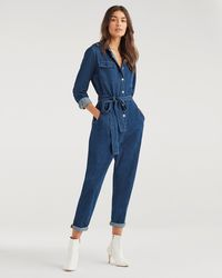7 For All Mankind Utility Jumpsuit In Avant Rinse - Blue