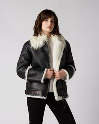 7 For All Mankind Aviator Jacket Shearling Black White Sherpa