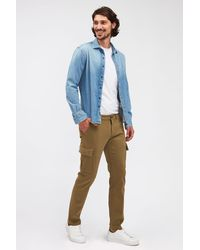 7 For All Mankind Slimmy Tapered Cargo Chino Luxe Performance Sateen Light Army - Green