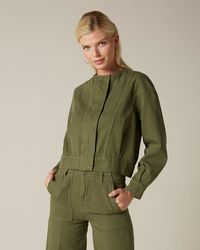 7 For All Mankind Utility Bomber Twill Army - Green