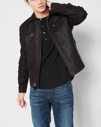 7 For All Mankind - Leather Biker Jacket In Black Coffee - Lyst