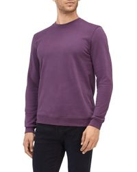 7 For All Mankind - Crew Neck Sweat Cotton Purple With Black Stitching - Lyst