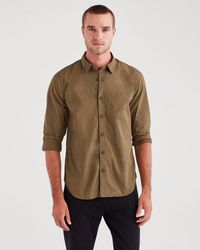 7 For All Mankind - Long Sleeve Poplin Shirt In Military Olive - Lyst