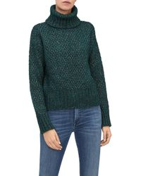 7 For All Mankind - Turtle Neck Sweater Mixed Fabrics Sprunce - Lyst