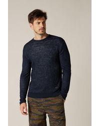 7 For All Mankind Crew Neck Knit Cotton Linen Bi Colour Navy & Grey - Blue