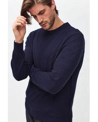 7 For All Mankind Crew Neck Knit Cashmere W/ Stitch Detail Navy - Blue