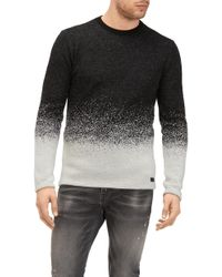 7 For All Mankind - Crew Neck Knit Degradee Mohair Black And Grey - Lyst