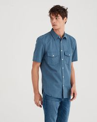 7 For All Mankind - Short Sleeve Military Shirt In Cadet Blue - Lyst