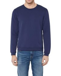 7 For All Mankind - Crew Neck Sweat Cotton Blue With Black - Lyst