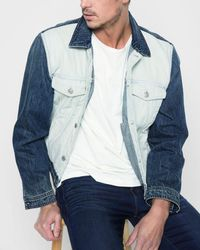 7 For All Mankind - Inside Out Trucker Jacket In Vintage Blue - Lyst