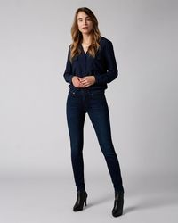 7 For All Mankind The Skinny Slim Illusion Homeland With Embellished SQUIGGLE - Blue