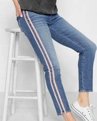7 For All Mankind - Roxanne Ankle With Pink Faux Suede Stripes In Vintage Blue Dunes - Lyst