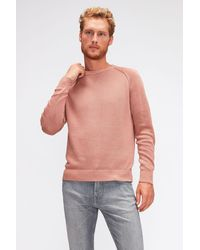 7 For All Mankind Raglan Crew Neck Cotton Linen Dusty Pink