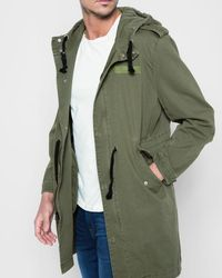 7 For All Mankind - Hooded Parka In Army - Lyst