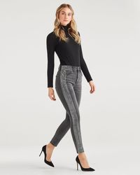 7 For All Mankind High Waist Ankle Skinny With Metallic Glitter Tux Stripe - Multicolour