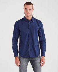 7 For All Mankind Long Sleeve Poplin Shirt In Navy - Blue