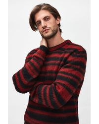 7 For All Mankind Crew Neck Knit Mohair Stripy Red & Black