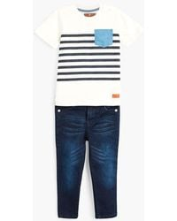 7 For All Mankind - Boy's 2t-4t Crew Neck Tee & Jeans In Bright White - Lyst