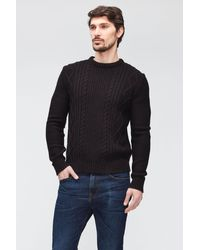 7 For All Mankind Cable Knit Mixed Fabrics Black