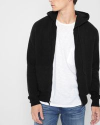 7 For All Mankind - Zipper Hoodie In Black - Lyst