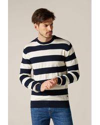 7 For All Mankind Crew Neck Knit Cotton Stripes Off White & Navy - Blue
