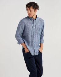 7 For All Mankind - Long Sleeve Linen Front Pocket Shirt In Navy - Lyst