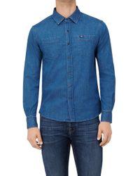 7 For All Mankind - Two Pockets Shirt Stretch Denim Mid Blue - Lyst