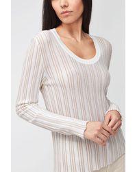 7 For All Mankind Lurex Stripe Knit Wool Milk - White