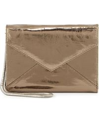 Romy Gold Metallic Leather Flap-Top Wallet - Lyst