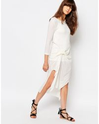 d.RA Cosmos Knot Front Dress - White