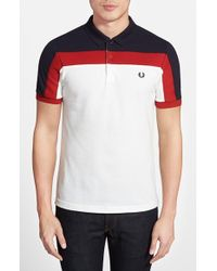 Fred Perry Paneled Cotton Pique Polo - Lyst