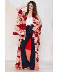 Nasty Gal Vintage Kiku Floral Kimono red - Lyst