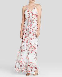 Cynthia Steffe Maxi Dress - Gabi Sleeveless V-Neck Floral Print Chiffon multicolor - Lyst