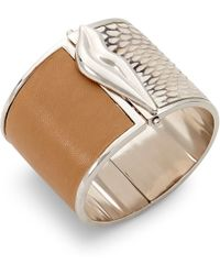 Diane von Furstenberg Frankie Wide Hinged Bangle Bracelet gold - Lyst