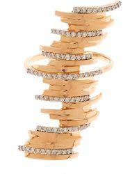 Kismet by Milka - Gold White Diamond Long Ring - Lyst