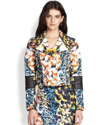Nicholas Spring Floral Stretch Cotton & Leather Biker Jacket - Lyst