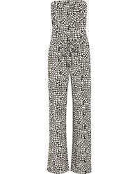 Diane Von Furstenberg Ani Printed Stretch-silk Jumpsuit - Lyst