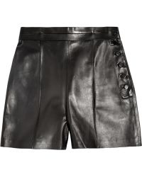 Valentino Highrise Leather Shorts - Lyst