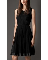Burberry Silk Crépon Corset Detail Dress - Lyst