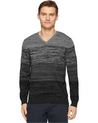 Calvin Klein Ck Premium Slim-Fit Space-Dyed V-Neck Sweater black - Lyst