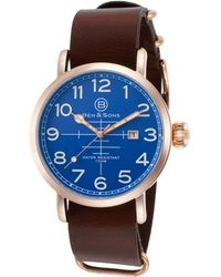 Ben Minkoff - Airstream Brown Genuine Leather Blue Dial Rose-tone Ss - Lyst