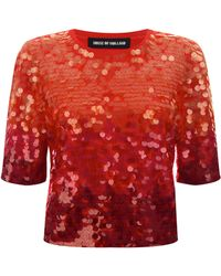 House Of Holland Sequin Knit Tee - Lyst