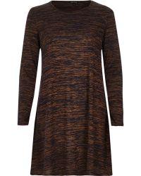 River Island Brown Space Dye Swing Dress - Lyst