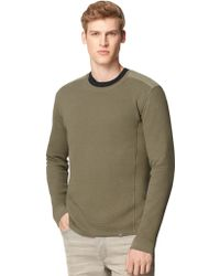 Calvin Klein Jeans Mixed Media Waffle Knit Pullover - Lyst