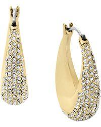 Michael Kors Gold Tone Clear Pave Hoop Earrings - Lyst