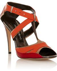 Prabal Gurung Orange T-strap Sandal