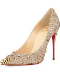 Christian Louboutin Degraspike Studded Glitter Red Sole Pump - Metallic