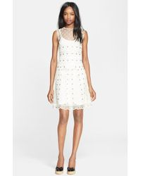 RED Valentino Grommet Detail A-Line Dress white - Lyst