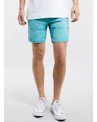 Topman Teal Washed Shorts - Lyst