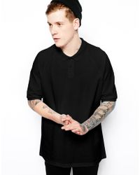 Asos Oversized Polo with Raglan Sleeves - Lyst